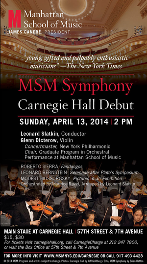 Manhattan School of Music Symphony to Play Leonard Bernstein's SERENADE and More in Carnegie Hall Debut, 4/13